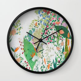Painterly Floral Jungle on Pink and White Wall Clock