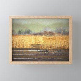 Dusky Canada Geese Wintering At Fern Ridge Framed Mini Art Print