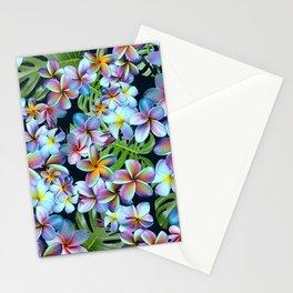 Rainbow Plumeria Dark Stationery Cards