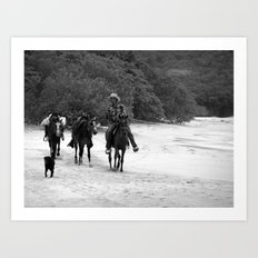 3 Horses, 1 Dog, 1 Man on a Beach Art Print