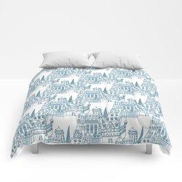 Buildings in Blue Comforters