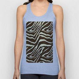 Animal Print Zebra in Winter Brown and Beige Unisex Tank Top