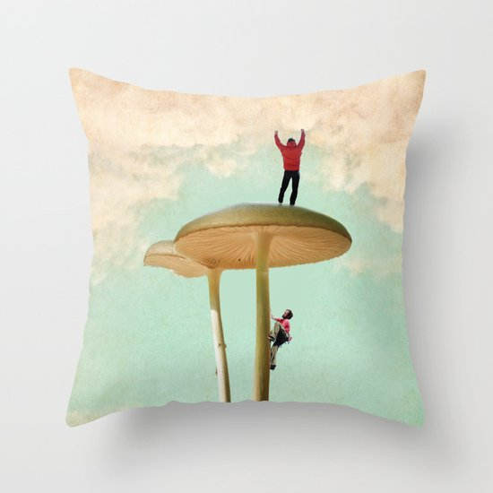 Land of the Giant Mushroom Throw Pillow