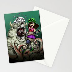 Roller Derby Girl Fighting Monster Stationery Cards