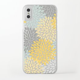 Floral Pattern, Yellow, Pale, Aqua, Blue and Gray Clear iPhone Case
