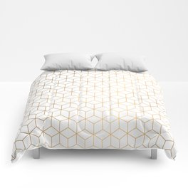 Gold Geometric Pattern on White Background Comforters