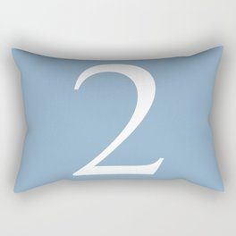 number two sign on placid blue color background Rectangular Pillow
