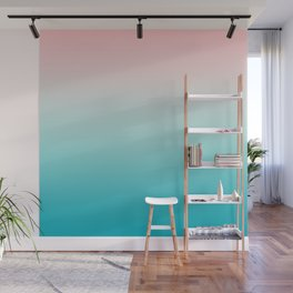 Pastel Ombre Millennial Pink Blue Teal Gradient Pattern Wall Mural