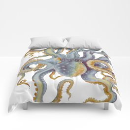 Octopus Tentacles Steel Blue Watercolor Art Comforters
