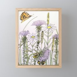 Bees Butterfly Thistle Watercolor Illustration Nature Art Framed Mini Art Print
