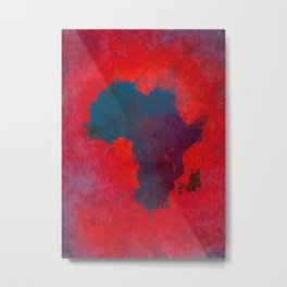 Africa map 3D red blue #africa #map Metal Print