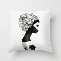 black swan Throw Pillows featuring Marianna by Ruben Ireland