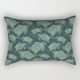 Japanese Pond Turtle / Teal Rectangular Pillow
