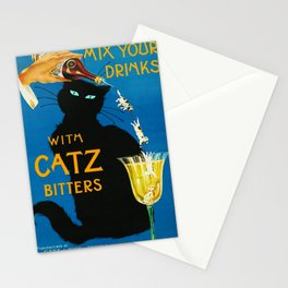 Mix Your Drinks with Catz (Cats) Bitters Aperitif Liquor Vintage Advertising Poster Stationery Cards