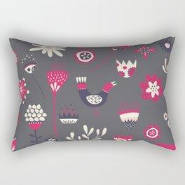 Scandi Floral Dark Rectangular Pillow