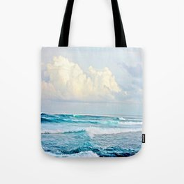 Blue Water Fluffy Clouds Tote Bag