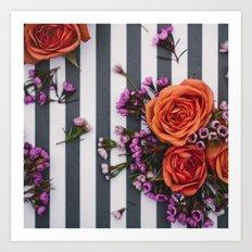 Botanical Stripes  Art Print