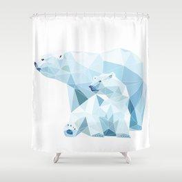 polygonal polar bear Shower Curtain