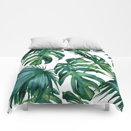 Classic Palm Leaves Tropical Jungle Green Comforters