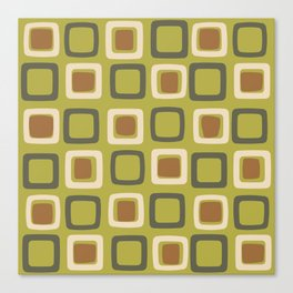 Mid Century Modern Squares Chartreuse Canvas Print