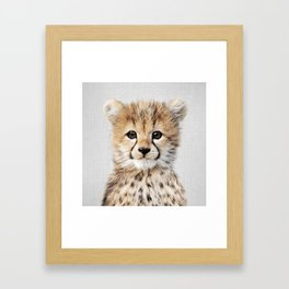 Baby Cheetah - Colorful Framed Art Print