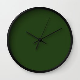 Solid Dark Forest Green Simple Solid Color All Over Print Wall Clock