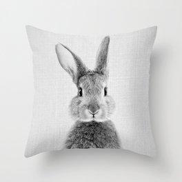 Rabbit - Black & White Throw Pillow