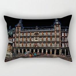 Neon Art of a plaza in Madrid, Spain Rectangular Pillow