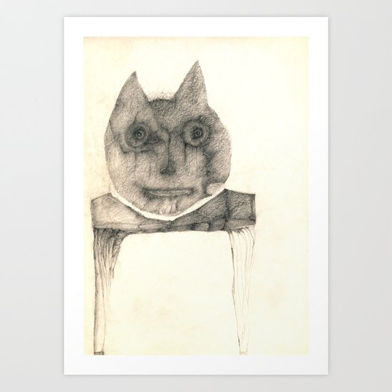 cat on the table Art Print