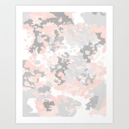 camo pink and grey abstract brushstrokes modern canvas art decor dorm college Art Print