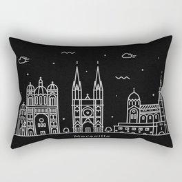 Marseille Minimal Nightscape / Skyline Drawing Rectangular Pillow