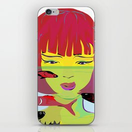 """Redhead Worry"" Paulette Lust's Original, Contemporary, Whimsical, Colorful Art iPhone Skin"