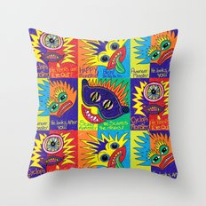 Crayon drawn Monsters Throw Pillow