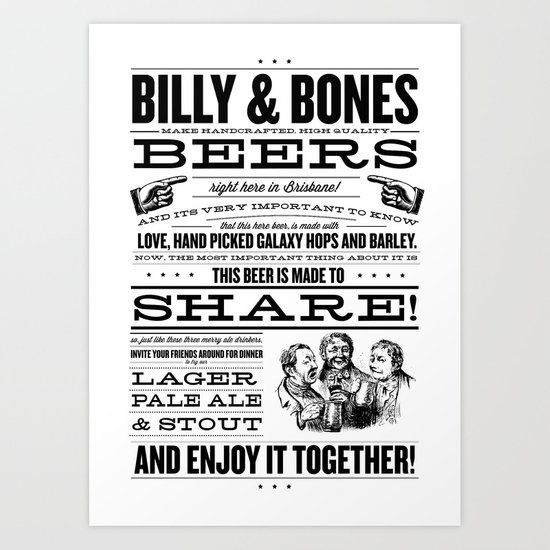 Billy & Bones Hand Crafted Beer Art Print