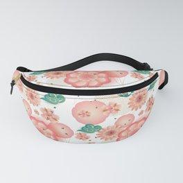 Elegant Floral Ornament, Spring Peach Garden, Decorative Pink Flowers, blossom sakuras BOHO pattern Fanny Pack