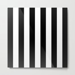 Abstract Black and White Vertical Stripe Lines 6 Metal Print