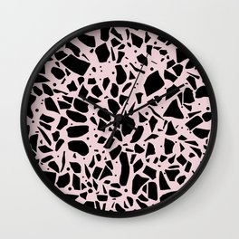 Terrazzo Spot Black on Blush Wall Clock