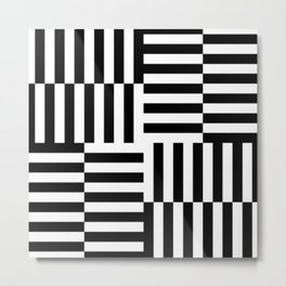 Geometrical abstract black white stripes pattern Metal Print