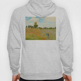 Claude Monet Impressionist Landscape Oil Painting Poppy Field Hoody