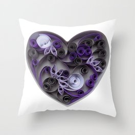 Purple Grey Love Heart Paper Quilled Colorful Heart Wedding Anniversary Gift Throw Pillow