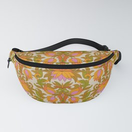 Orange, Pink Flowers and Green Leaves 1960s Retro Vintage Pattern Fanny Pack