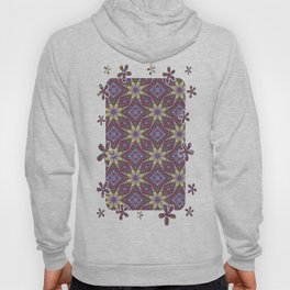 Yellow Flowers and Amethyst Diamonds Repeating Pattern Hoody