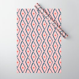 Pink Navy Diamond pattern Wrapping Paper