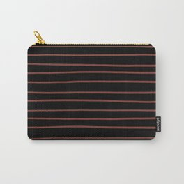Pantone Burnt Henna Red 19-1540 Hand Drawn Horizontal Lines on Black Carry-All Pouch