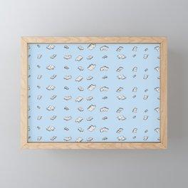 flying books on the sky Framed Mini Art Print
