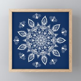RB Mandala Design with botanical elements Framed Mini Art Print