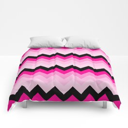 Pink and Black Chevrons Pattern Comforters