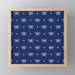 Bee Stamped Motif on Navy Blue Framed Mini Art Print
