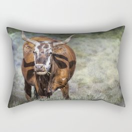 Pretty Female Cow with Horns Rectangular Pillow