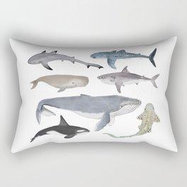 Whales and Sharks Rectangular Pillow